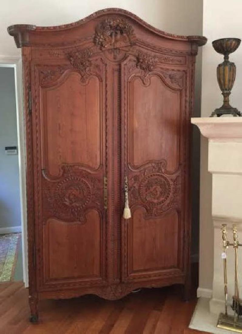 Antique French Country Armoire w Custom Bar Interior