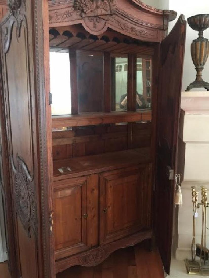 Antique French Country Armoire w Custom Bar Interior - 2