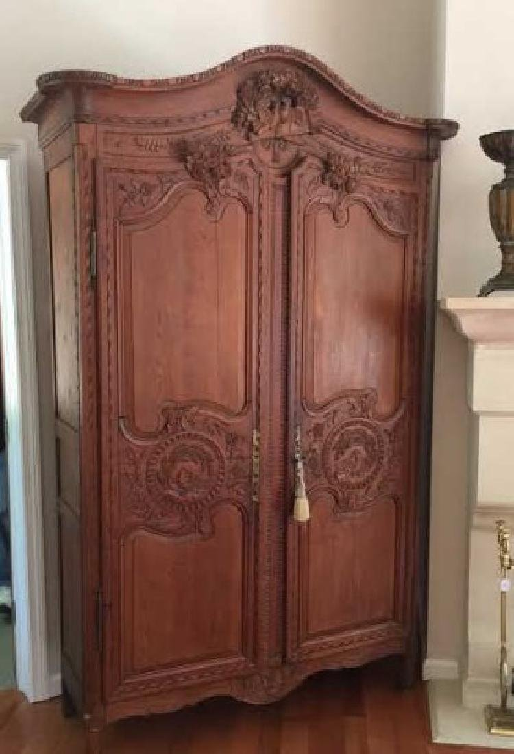 Antique French Country Armoire w Custom Bar Interior - 3