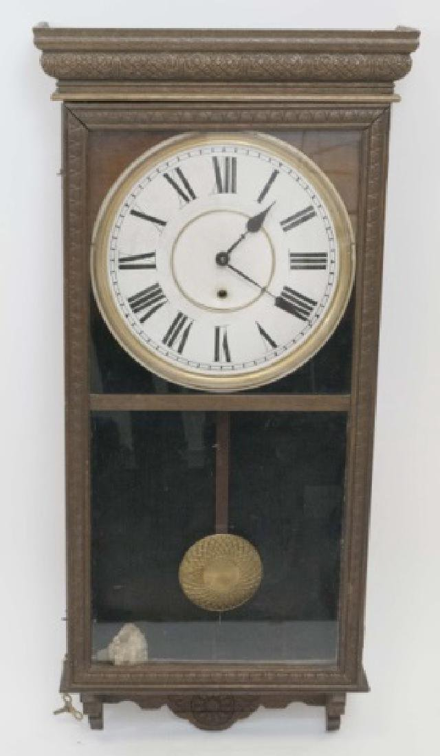 Antique Detailed Wood Wall Regulator Clock