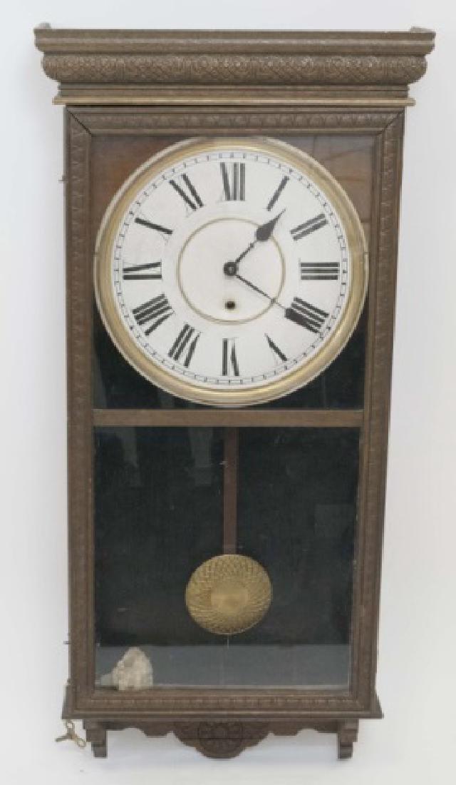Antique Detailed Wood Wall Regulator Clock