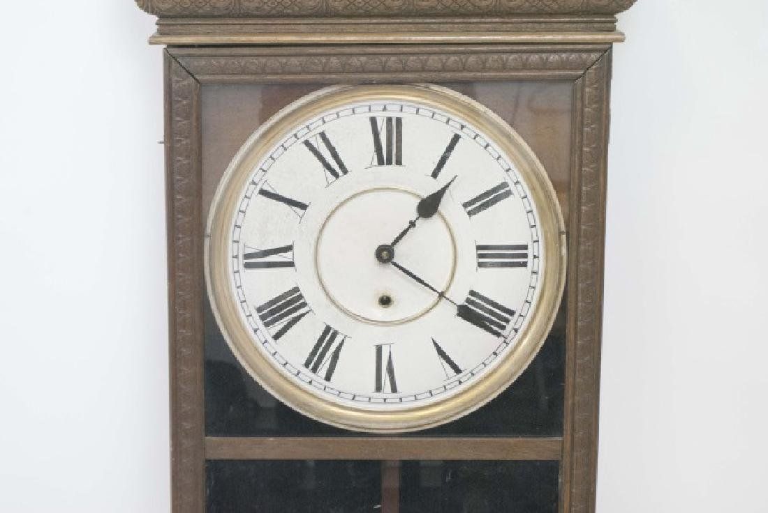 Antique Detailed Wood Wall Regulator Clock - 3