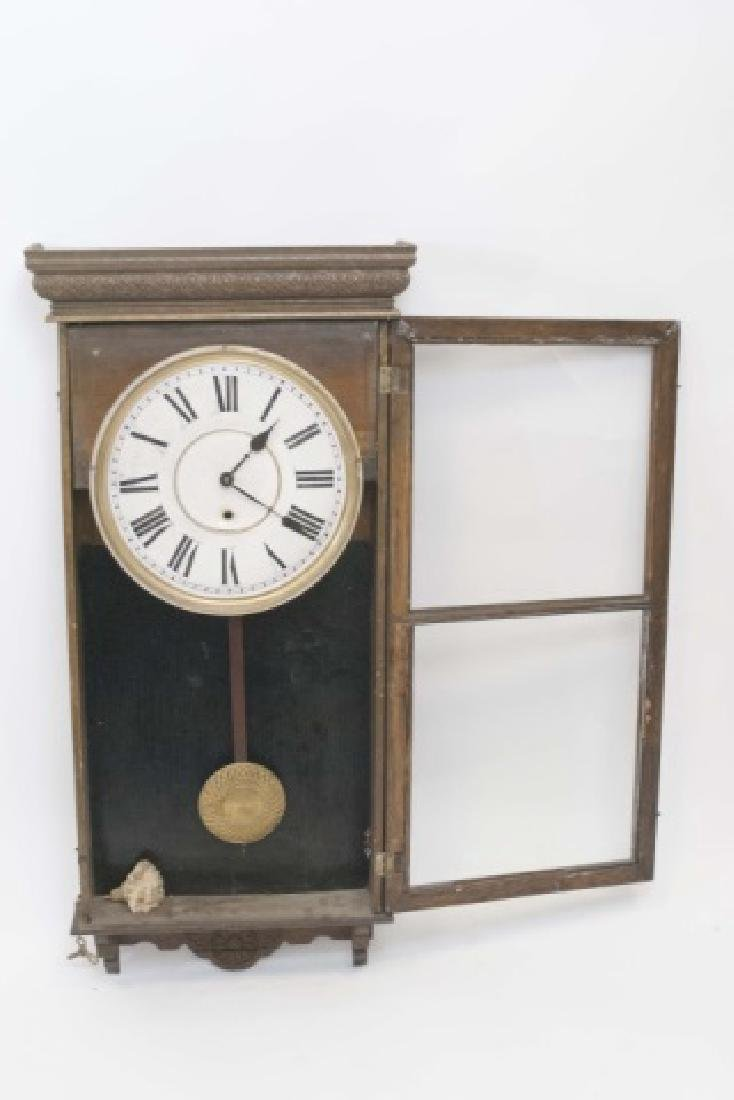 Antique Detailed Wood Wall Regulator Clock - 4