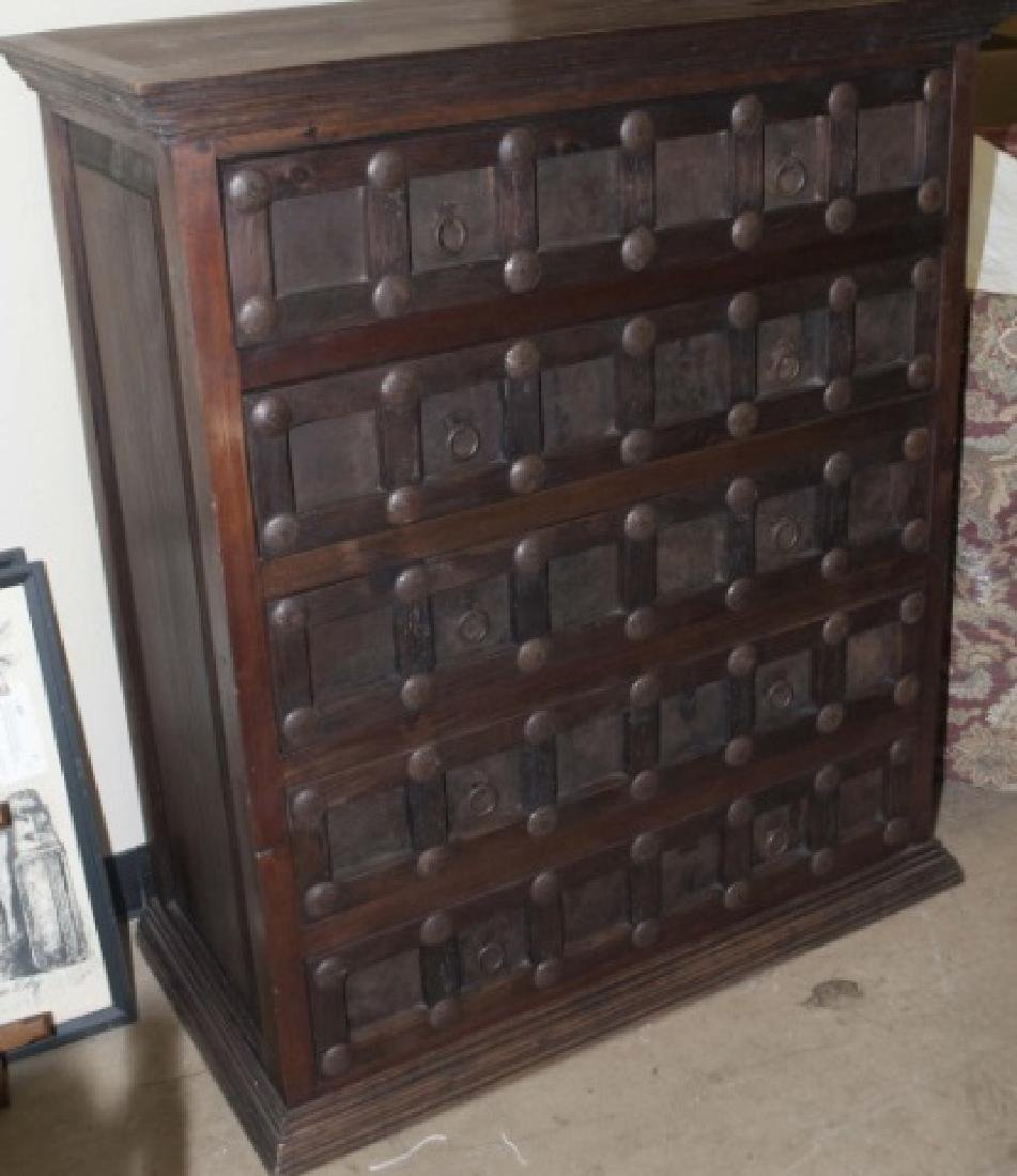 Asian Inspired Chest Drawers wLattice & Nailheads - 3
