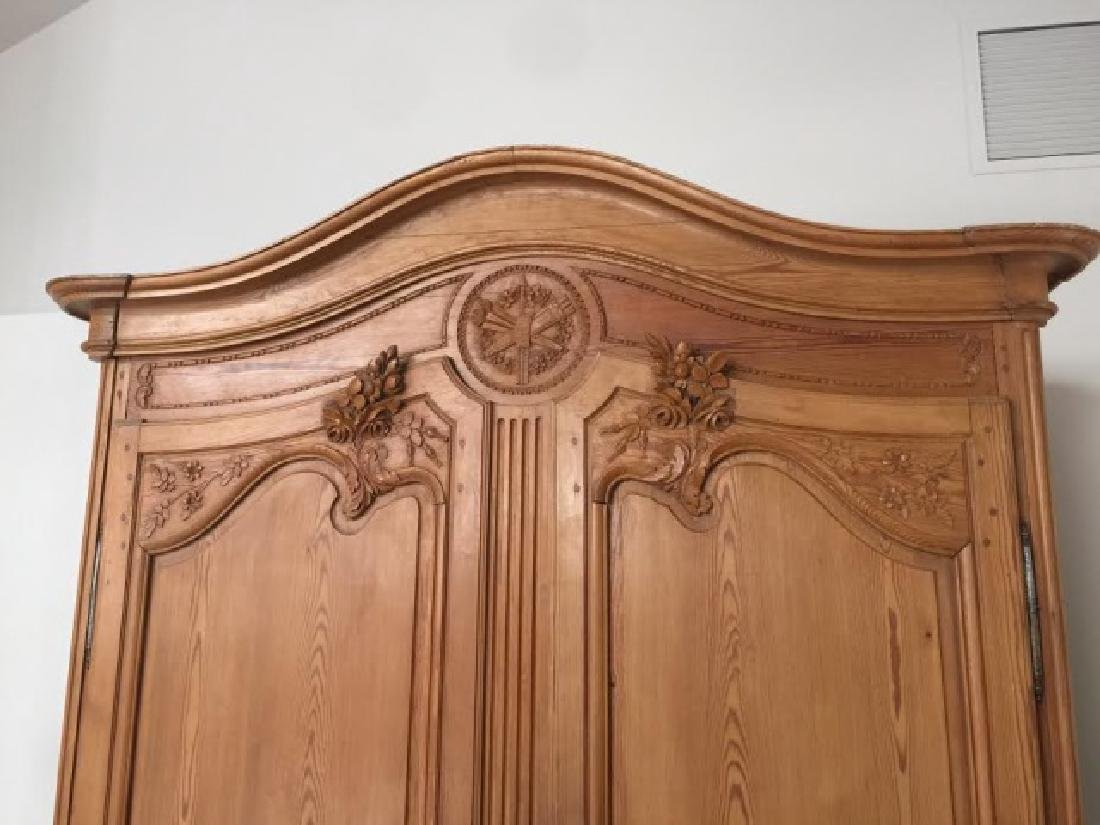 Antique French Country Wardrobe Armoire w Fine Carving - 2