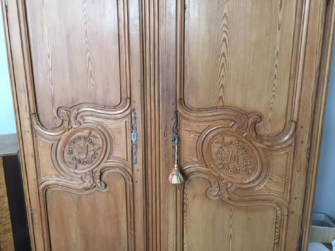 Antique French Country Wardrobe Armoire w Fine Carving - 3
