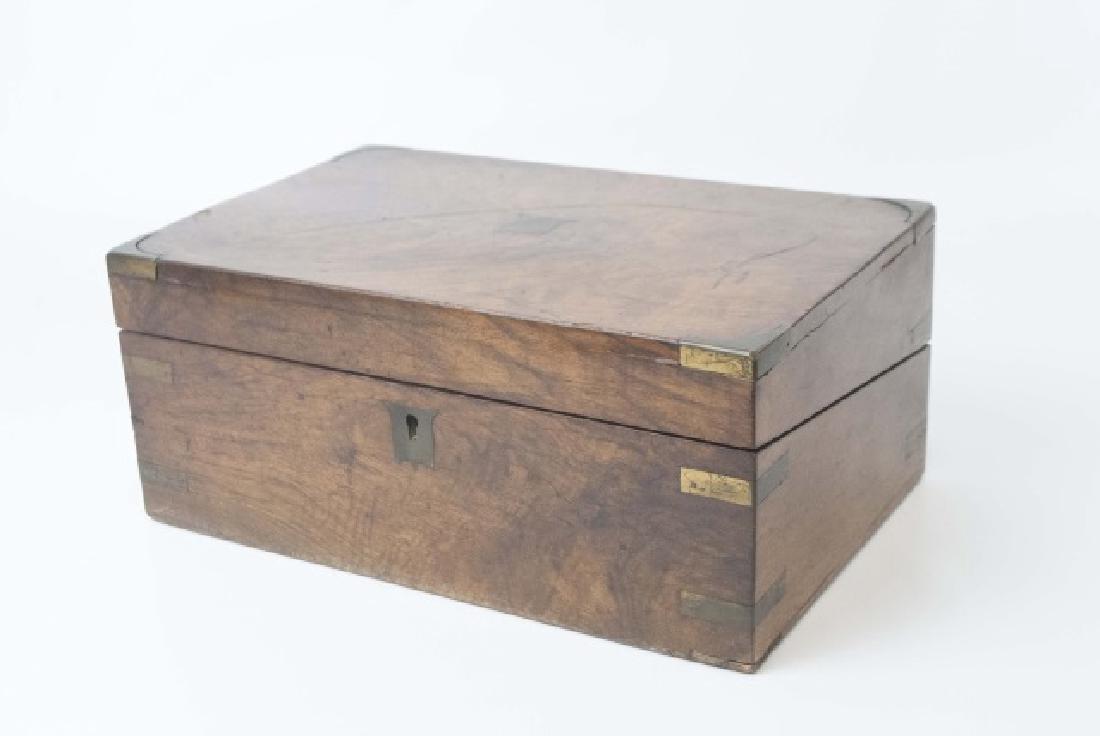 Antique Dresser Top Wooden Hinged Box - 3