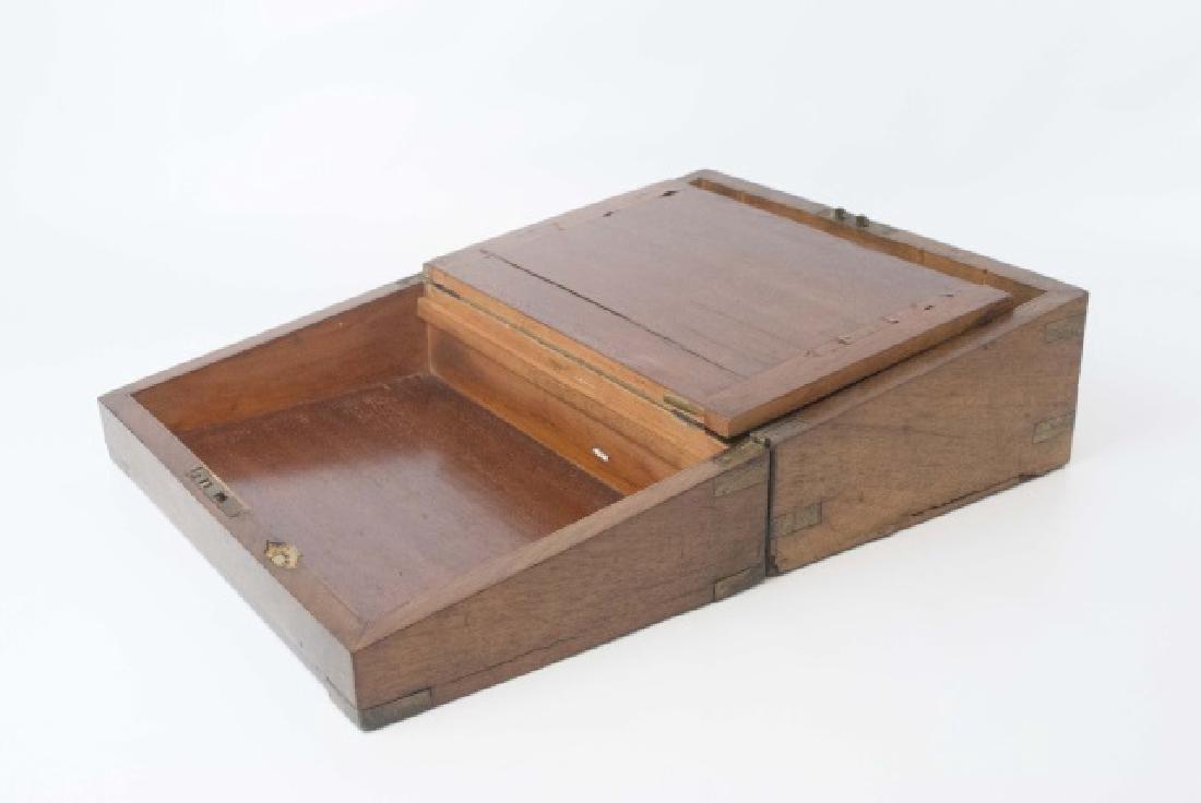 Antique Dresser Top Wooden Hinged Box - 4