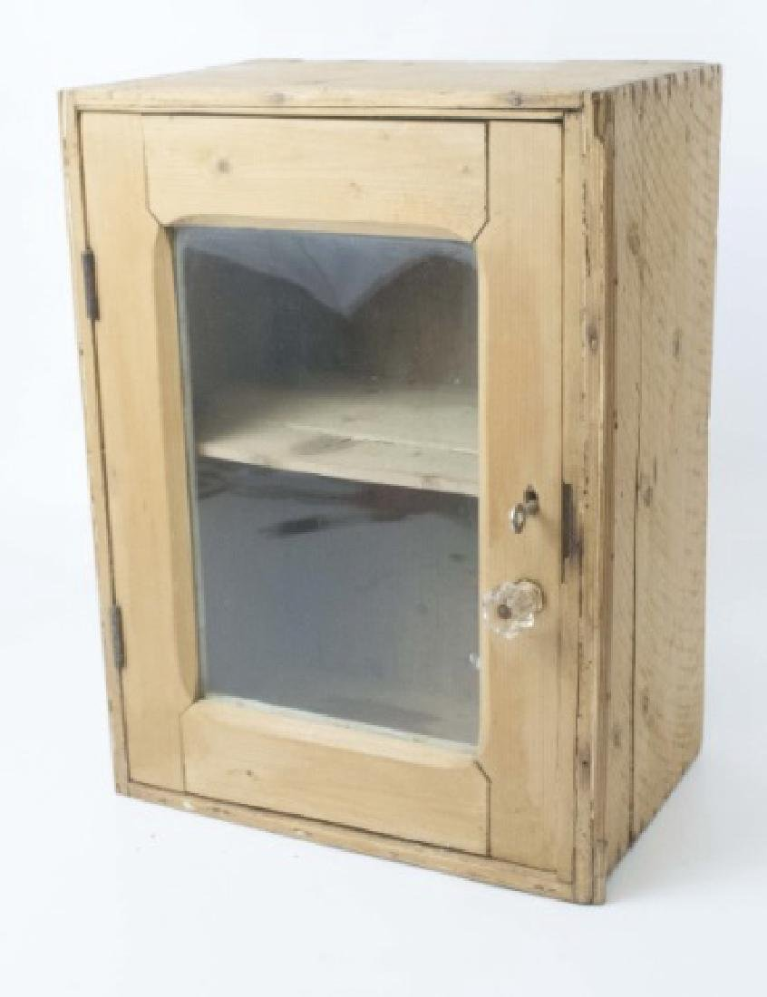 Antique Pine Wall Cabinet With Glass Door