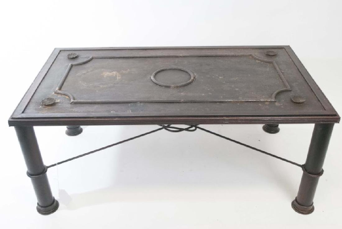 French Iron Door Coffee Table with Glass Top