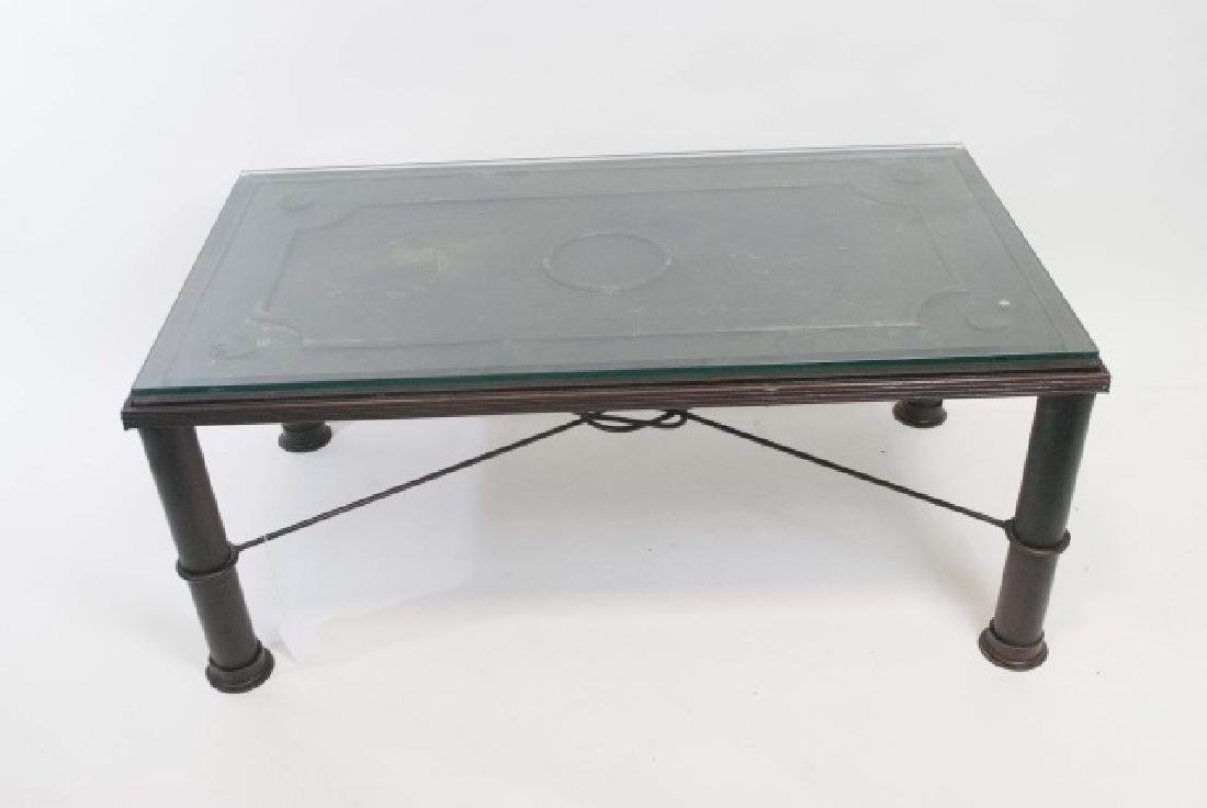 French Iron Door Coffee Table with Glass Top - 2