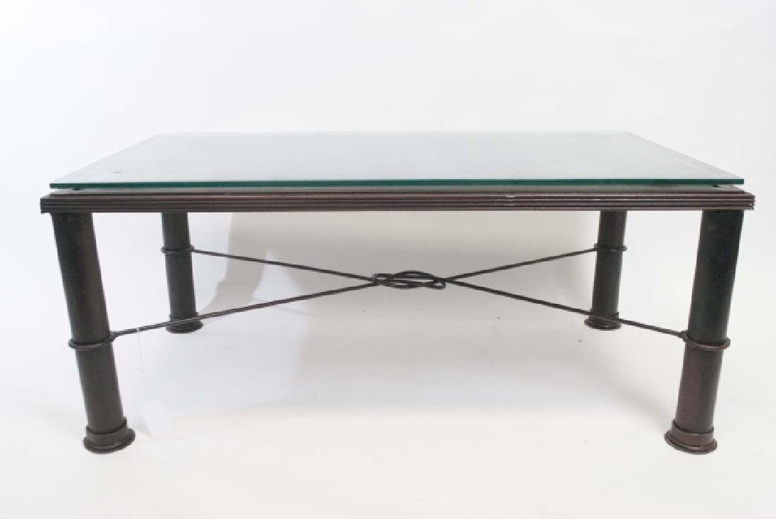 French Iron Door Coffee Table with Glass Top - 3