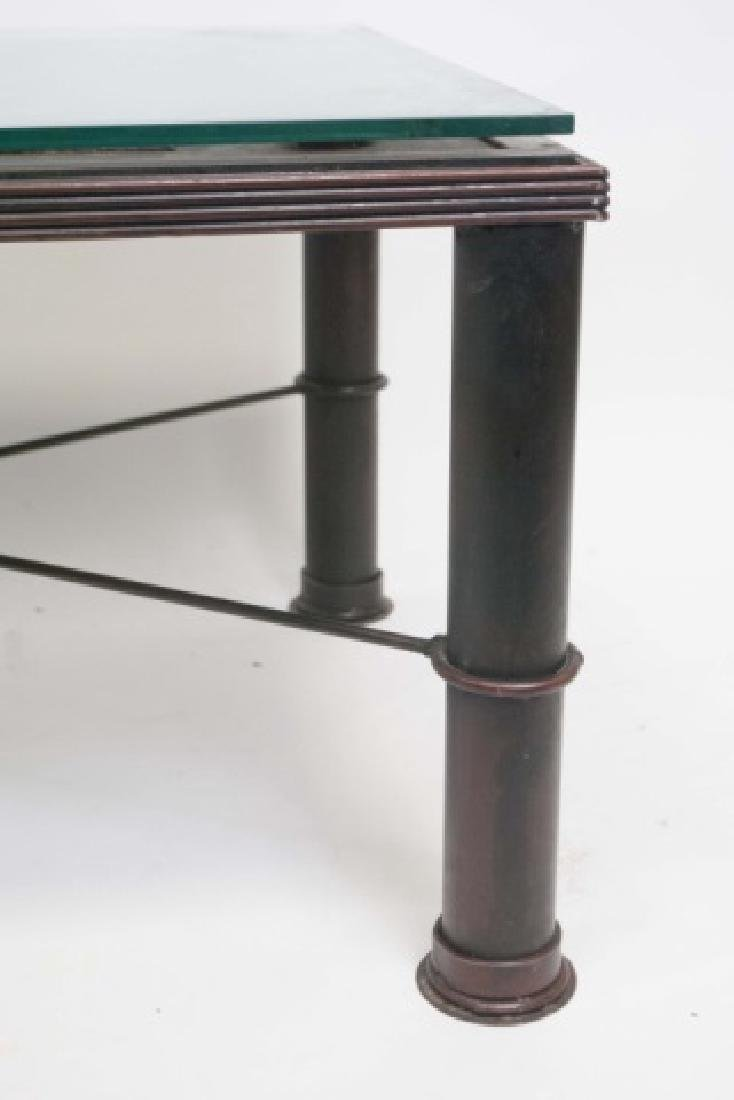 French Iron Door Coffee Table with Glass Top - 4