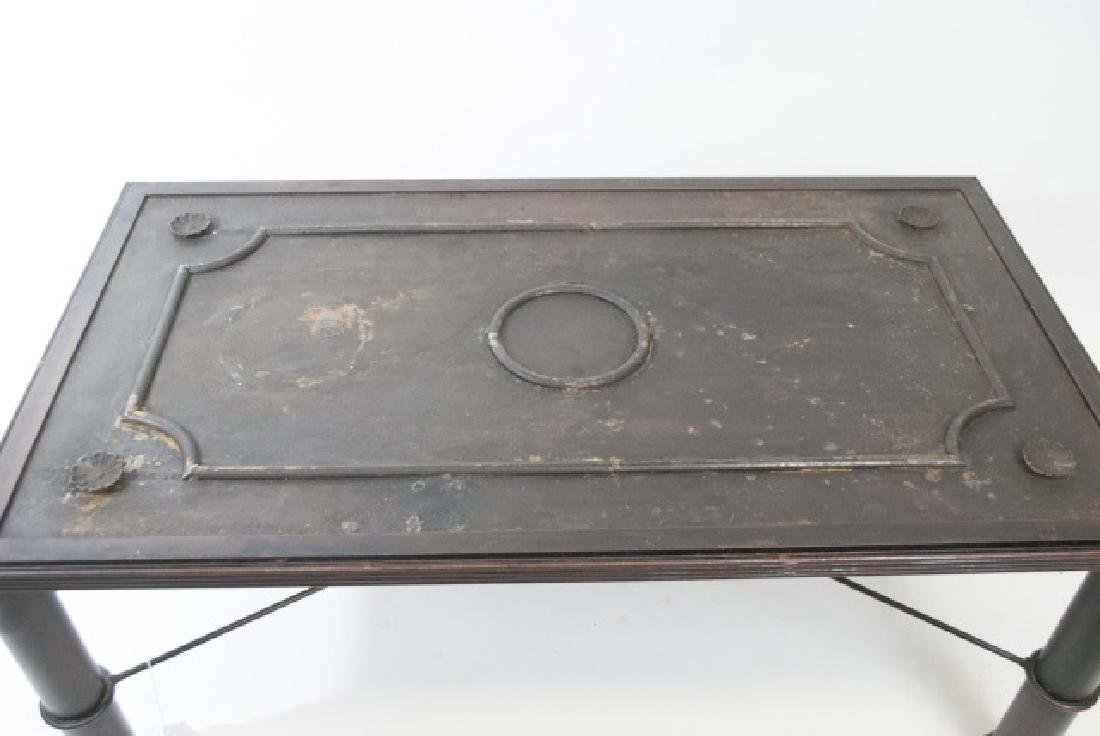 French Iron Door Coffee Table with Glass Top - 5