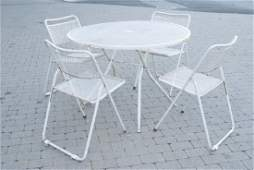 Mid Century Mesh Metal Outdoor Dining Room Set