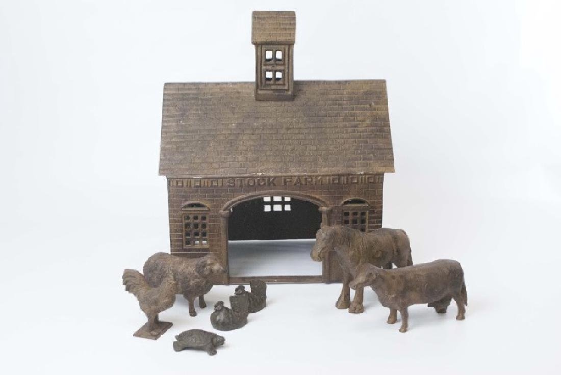 Antique Style Cast Iron Farm Toy - Barn w Animals