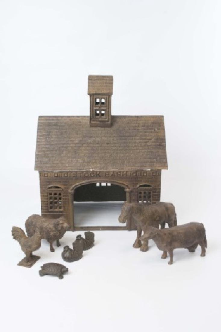 Antique Style Cast Iron Farm Toy - Barn w Animals - 2
