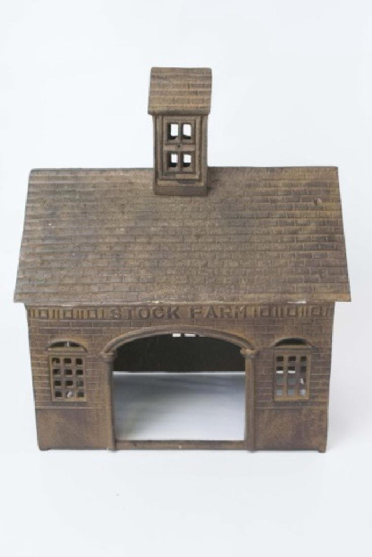 Antique Style Cast Iron Farm Toy - Barn w Animals - 4
