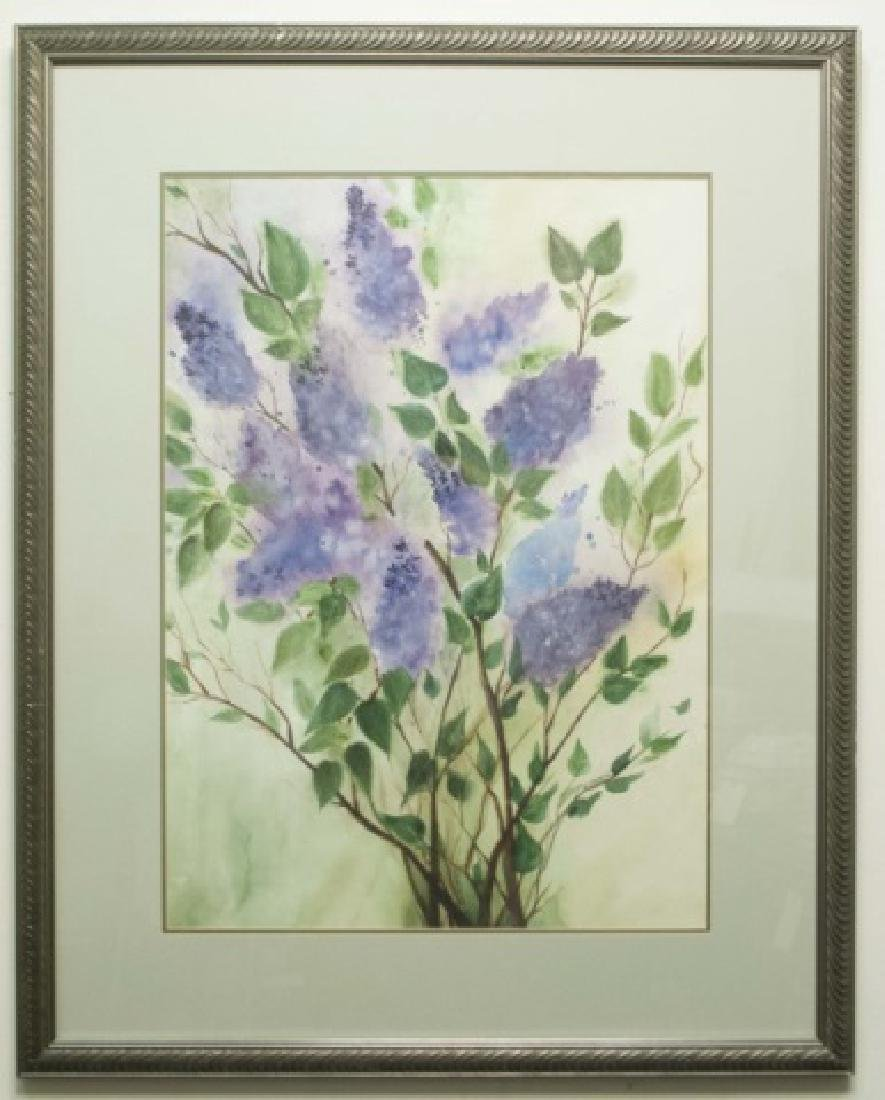 Altarescu-Signed Framed Watercolor of Lilacs