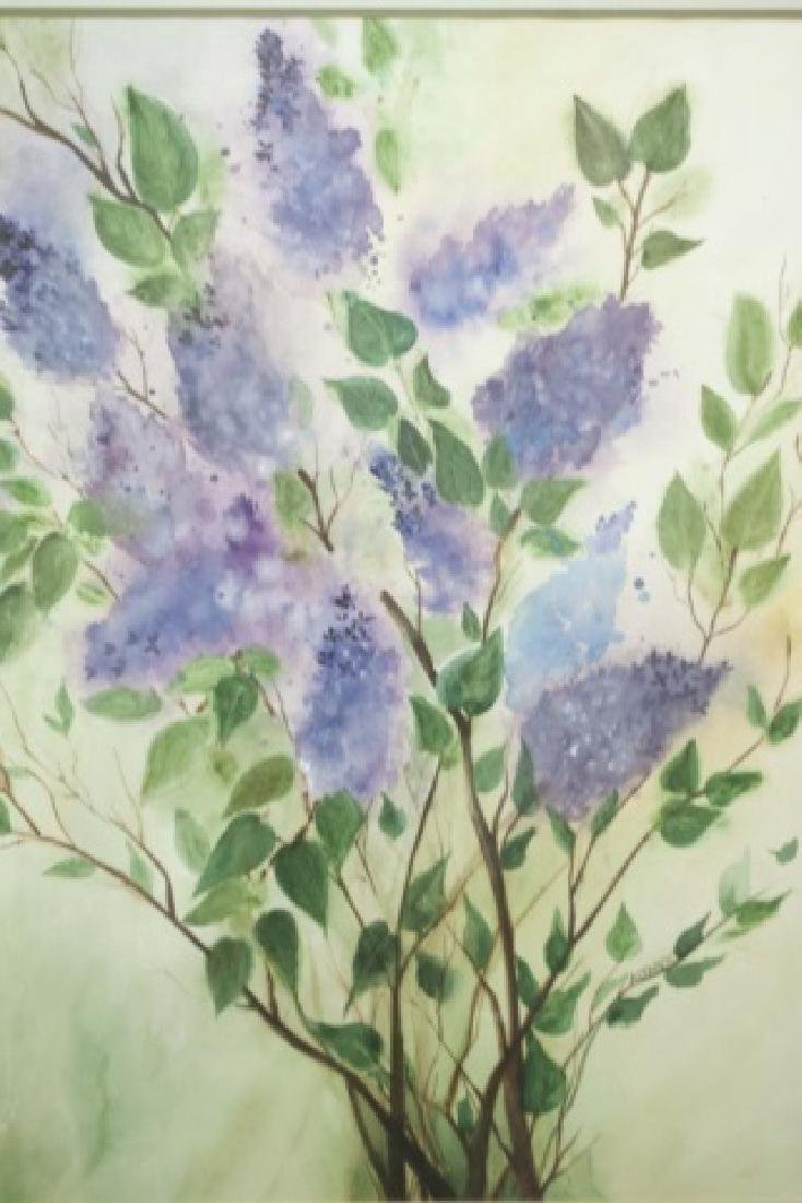 Altarescu-Signed Framed Watercolor of Lilacs - 2
