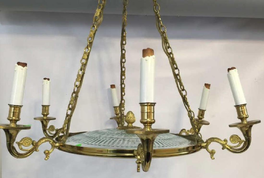 Detailed Brass & Cut Glass 6-Light Chandelier