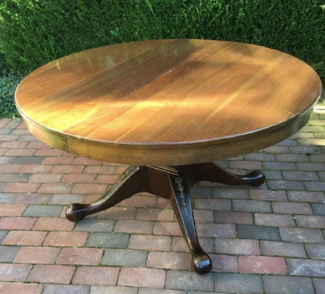 Pedestal Wood Round Table on Squared Base