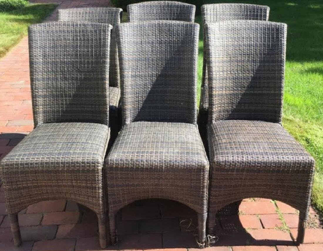 6 Woven Curved Back Gray-Tan Tone Chairs