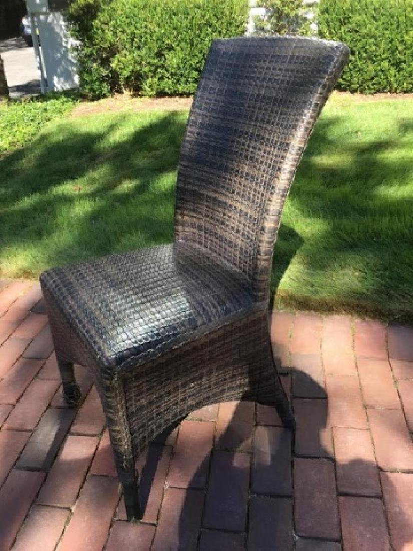 6 Woven Curved Back Gray-Tan Tone Chairs - 2