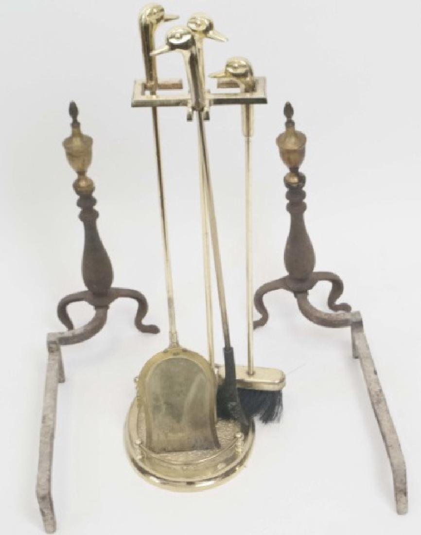 Duck-Headed Fireplace Tools, Brass Andirons