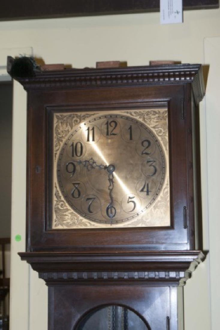 Mahogany Colonial Mfg. Case Clock with Gold Face - 5