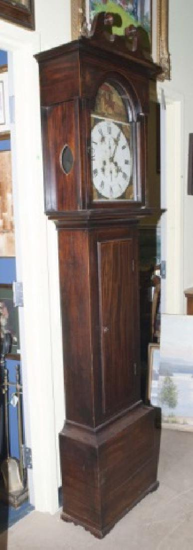 19 C Grandfather Clock w Inlay & Hand Painted Face