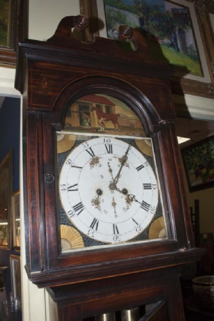 19 C Grandfather Clock w Inlay & Hand Painted Face - 2