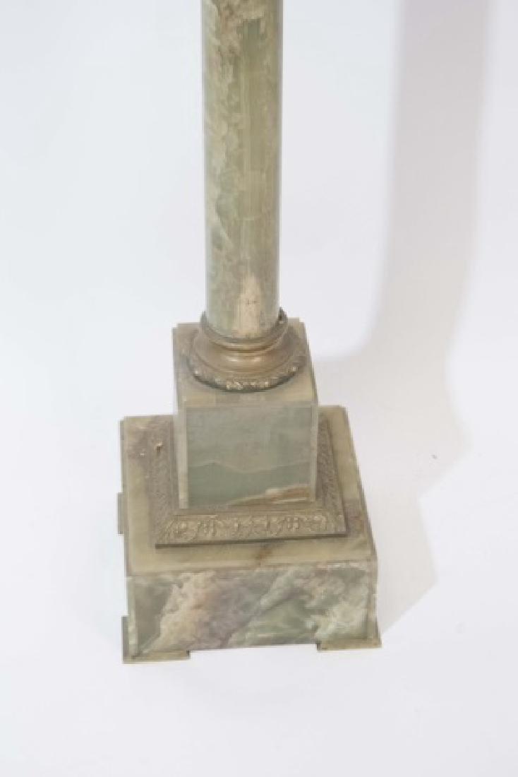 Antique Green Onyx Pedestal w Ormolu Mount - 3
