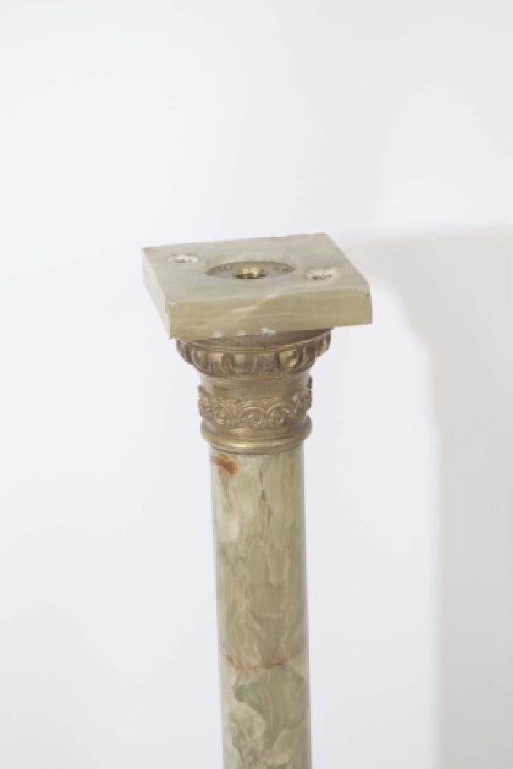 Antique Green Onyx Pedestal w Ormolu Mount - 4