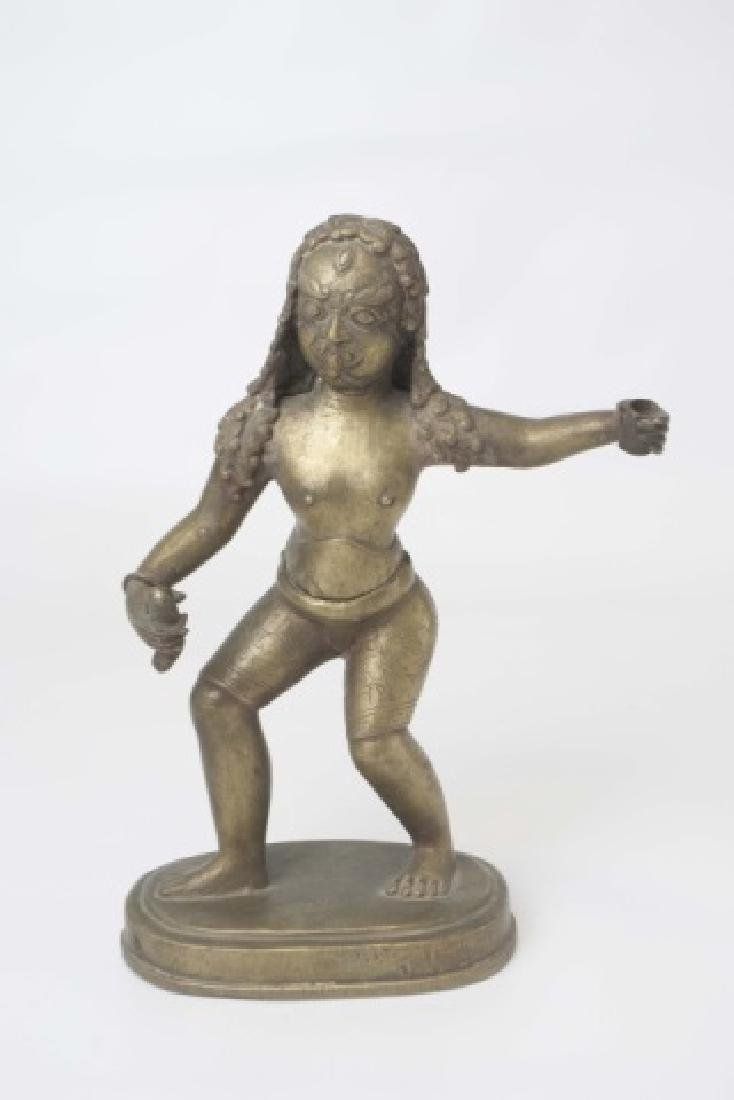Brass Indian Figure of Warrior with Stylized Curls