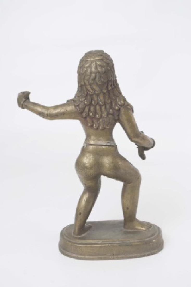 Brass Indian Figure of Warrior with Stylized Curls - 2