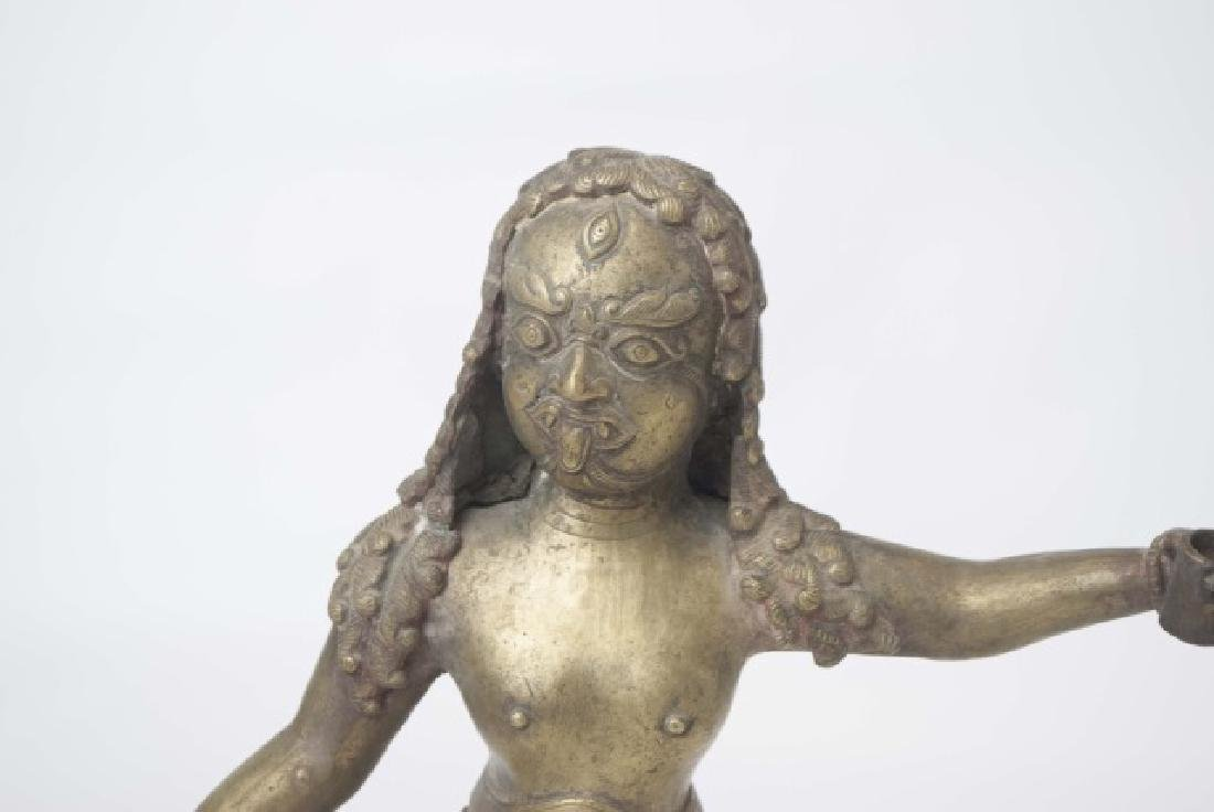 Brass Indian Figure of Warrior with Stylized Curls - 3