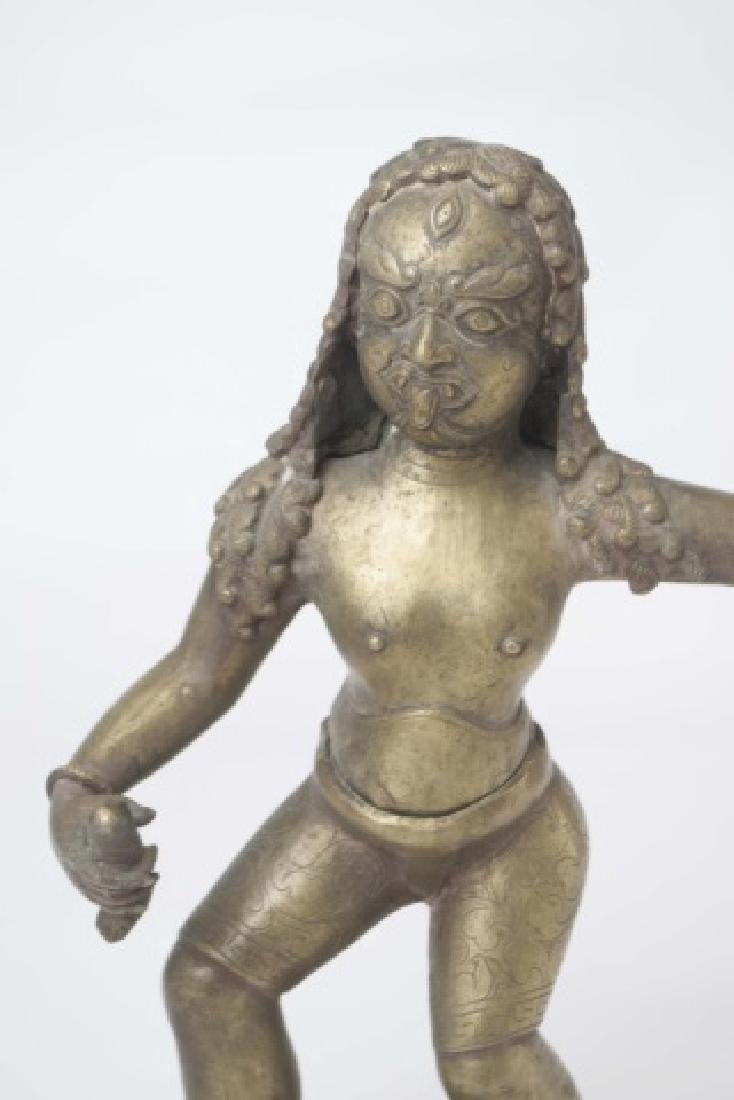 Brass Indian Figure of Warrior with Stylized Curls - 4