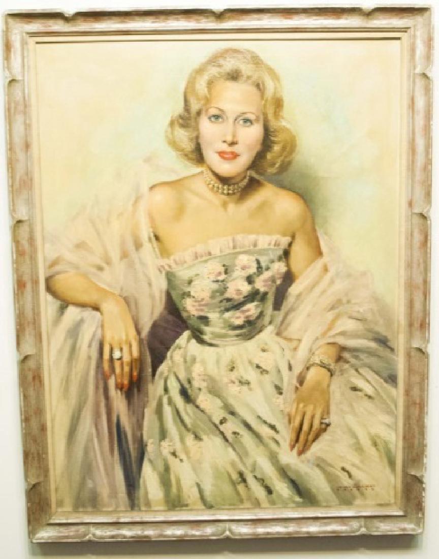 Portrait of a Lady Oil / Canvas by JD van Caulaert