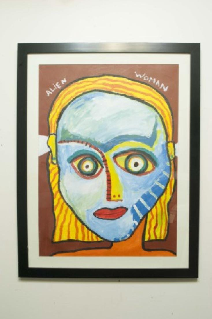 3 Unsigned Framed Gouache Paintings of Aliens