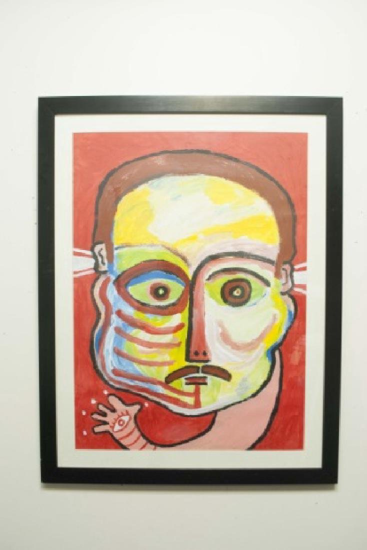 3 Unsigned Framed Gouache Paintings of Aliens - 2