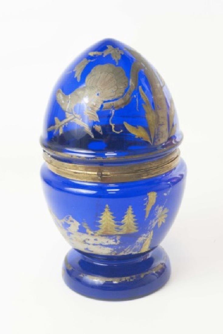 Antique 19th C Cobalt Glass Egg Form Tantalus