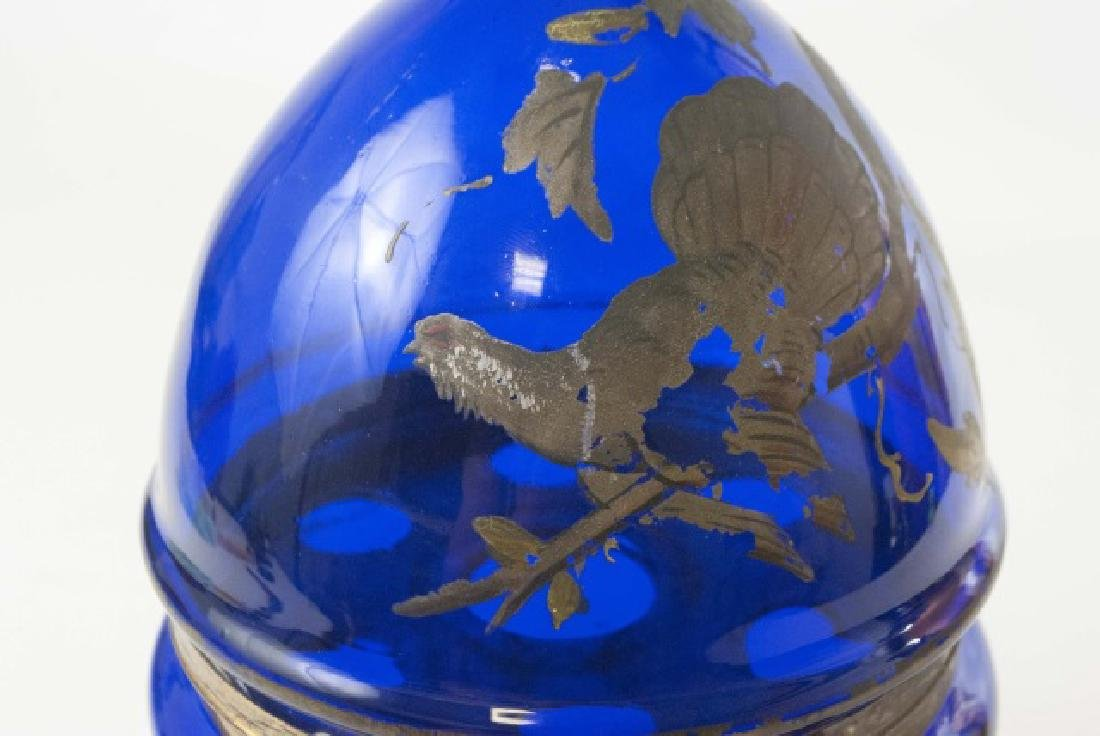 Antique 19th C Cobalt Glass Egg Form Tantalus - 7