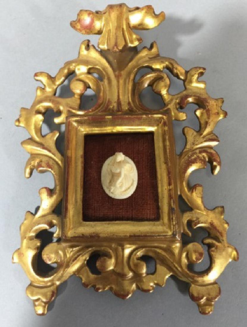 Antique Gold Leaf Florentine Frame w Cameo