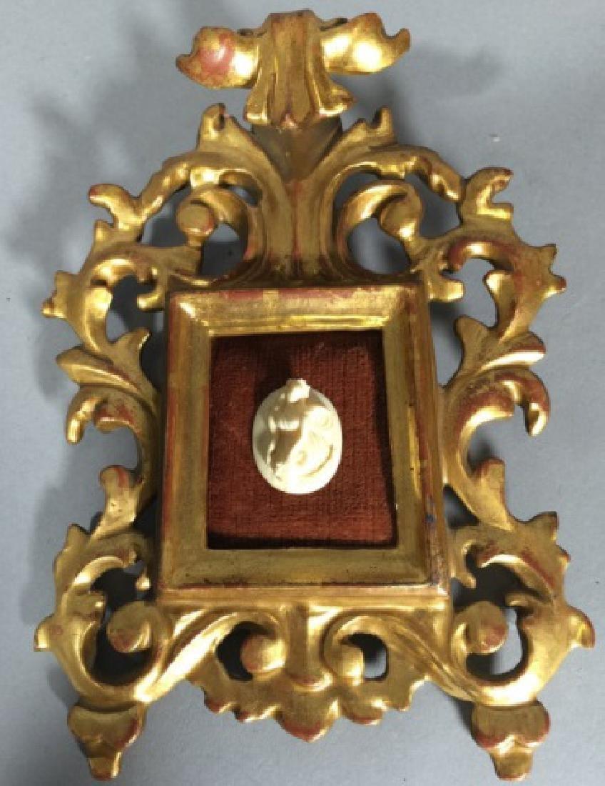 Antique Gold Leaf Florentine Frame w Cameo - 2