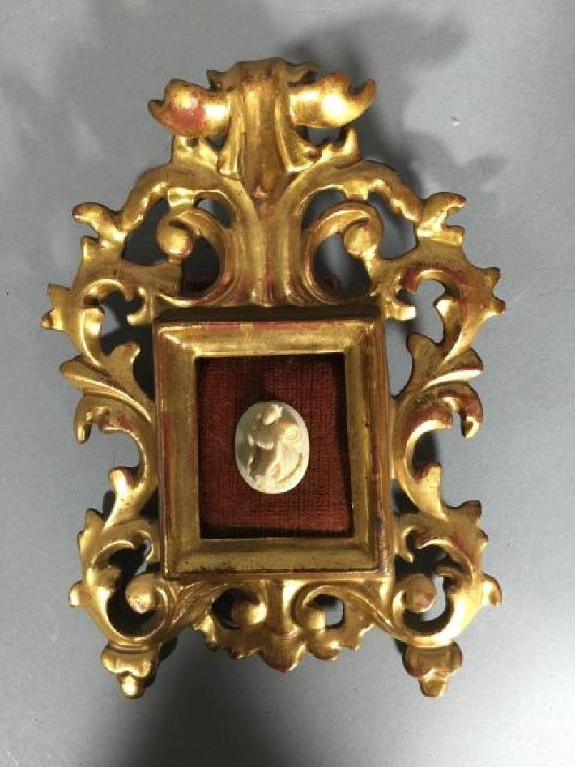 Antique Gold Leaf Florentine Frame w Cameo - 3