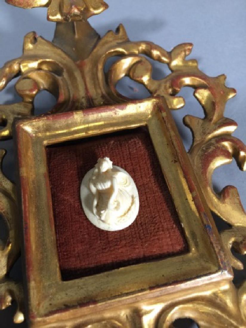 Antique Gold Leaf Florentine Frame w Cameo - 4