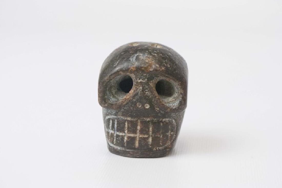 Chinese Archaic Style Carved Stone Skull Pendant