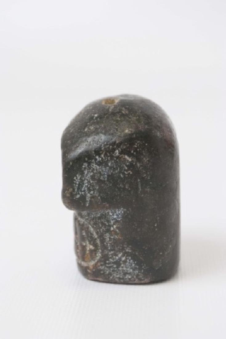 Chinese Archaic Style Carved Stone Skull Pendant - 3