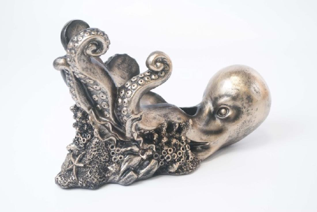 Figural Bronze Patina Octopus Wine Champagne Caddy